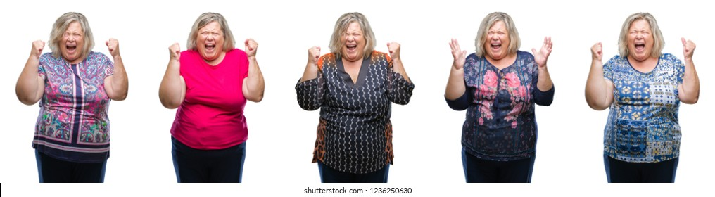Collage of senior fat woman over isolated background crazy and mad shouting and yelling with aggressive expression and arms raised. Frustration concept.
