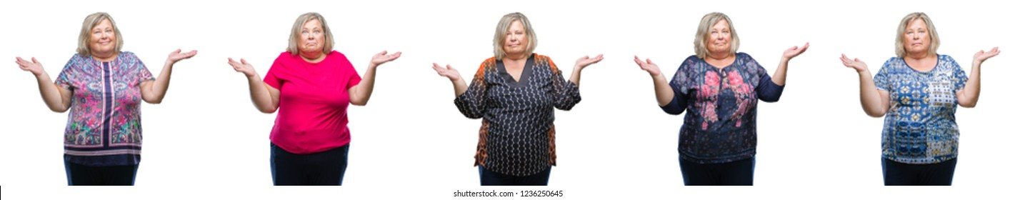 Collage of senior fat woman over isolated background clueless and confused expression with arms and hands raised. Doubt concept.