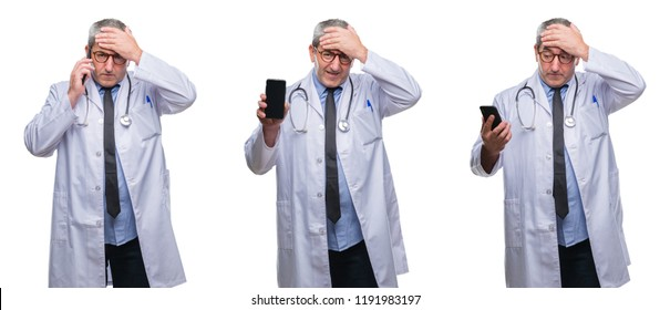 Collage of senior hoary doctor man talking on the phone over white isolated backgroud stressed with hand on head, shocked with shame and surprise face, angry and frustrated. Fear and upset for mistake