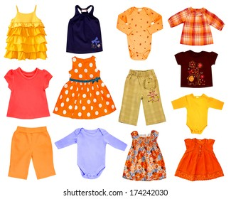 Collage set of children clothes isolated on white