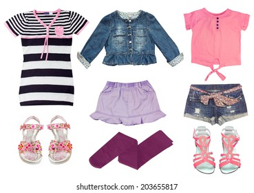 548088cd17e1 Collage set of girl clothes. Female kid summer clothing wear isolated.