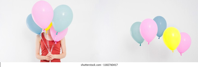 collage, set girl,child in red tshirt holding coloured baloons. Celebration, holidays, summer concept. Design template. Billboard blank, top view, copy space.
