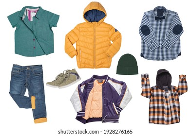 Collage set of little boy spring clothing isolated on a white background. Denim trouser or pants, a pair shoes, a rain and down jacket, shirts and a sweater for child boy. Kids autum and winter fashio