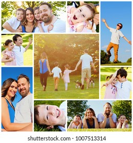 Collage of set photos: happy smiling family together at summer time in park