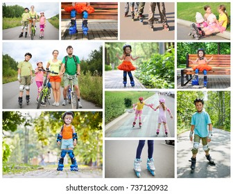 Collage with seven people on roller skates and bicycles - two adults and five children