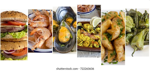 Collage with several images off various types of food.