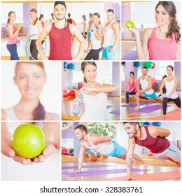 Collage with several photos of happy group of people doing sports - fitness, exercise, pilates, gym, stretching. Sports activities improve beautiful, healthy body, character! Healthy lifestyle concept