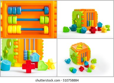 Collage of several toys for children