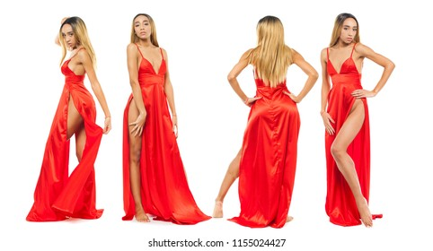 Collage sexy models. Young african women in long red dress, isolated on white background