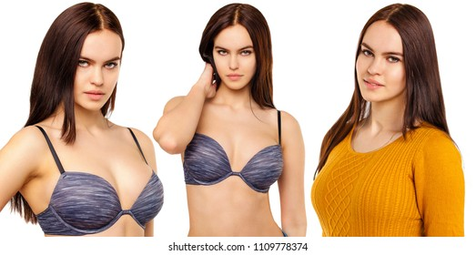 Collage sexy models. Young sexy brunette women in bra, isolated on white background