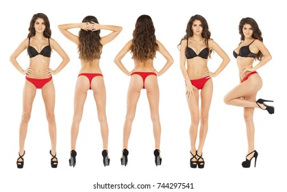 Collage sexy women. Full length portrait of young brunette models in a black bra and red panties, isolated on white background