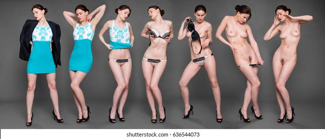 Collage sexy women. Portrait of young brunette with beautiful nude topless breasts on dark gray background