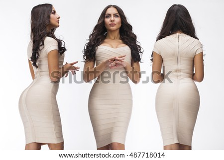Collage Sexy Women Young Arabic Woman In Beige Sexy Dress