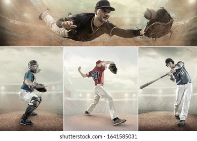 Collage of shoots Baseball players in dynamic action on stadium. Sport, professional game.
