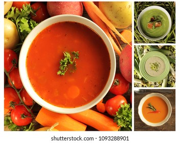 Collage showing different kind of soup, tomato, celery, asparagus, leek, vegetables, and potato