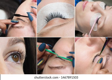 Collage showing the process of eyelash extensions in the beauty salon.