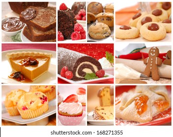 Collage showing a variety of delicious pastries, desserts and baked goods including cookies, pies, cakes, and muffins