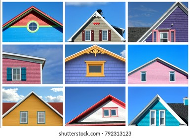 Collage showing a variety of rooftop from colourful houses in magdalen island in Canada