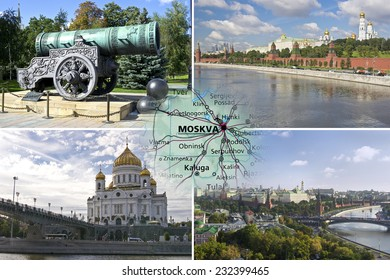 Collage with sightseeing of Moscow, Russia