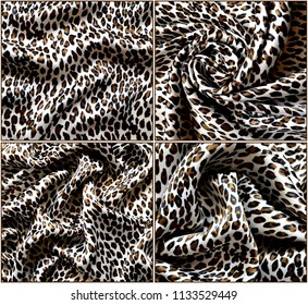 b2cd527026 Collage of silk fabric with leopard print. Different kinds of draperies.  Textile design.
