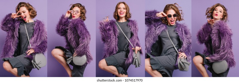 Collage singing girl in fashionable winter attire dancing with gray purse posing on purple background. Indoor portrait of spectacular short-haired woman in trendy fur coat.