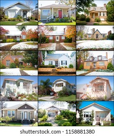 Collage of small homes in the USA. These small homes are usually starter homes for young people or homes for older retired persons. There are a variety of architectural styles and seasons.