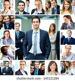 Collage of smart businesspeople in formalwear