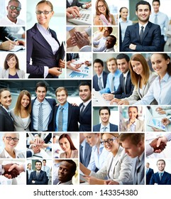 Collage of smart businesspeople and hands of co-workers