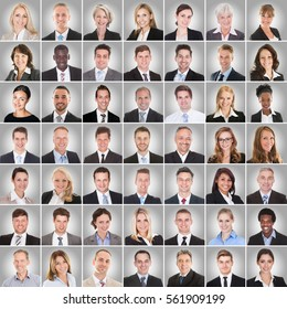 Collage Of Smiling Multi-ethnic Group Of Business People On Gray Background