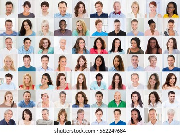 Collage Of Smiling Multiethnic People Portraits And Faces