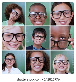 Collage of smiling pupils wearing reading glasses
