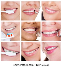 Collage of smiling woman cleaning her teeth. Isolated on white