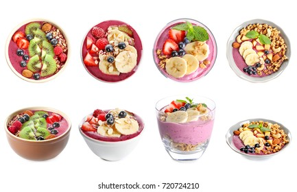 Collage of smoothies with acai berries on white background
