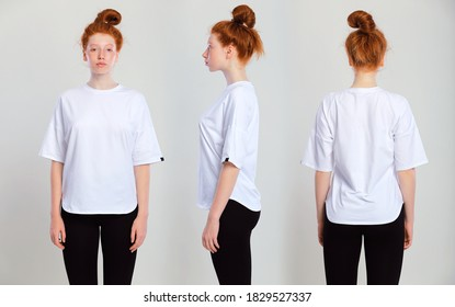 Collage snap of a redhead woman wearing her hair in a bun with healthy freckled skin. Young caucasian model posing indoors in  oversize shirt, on gray background