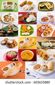 collage of south indian food like idli, vada sambar, sambar, dosa,uttapam, rava appe, roll dosa, upama