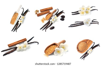 Collage of spice isolated on white backgrounds. Cinnamon, vanilla, sugar.