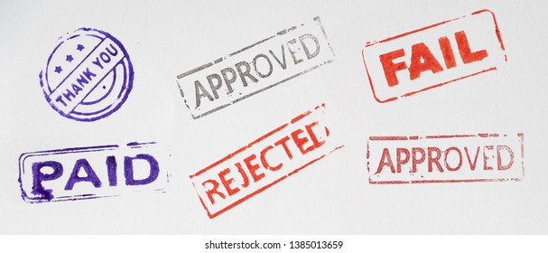 collage of stamp on paper. thank you, approved fail paid and rejected
