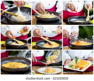 collage of Steps to Making Pad Thai