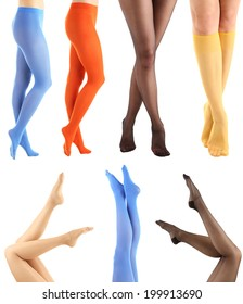 Collage of stockings on woman legs, isolated on white