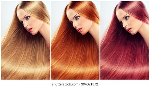 collage straight hair .Beautiful blonde , red head  woman with long  straight  healthy and shiny hair.