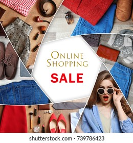 Collage with stylish clothes for online shopping concept