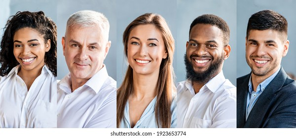 Collage Of Successful Business People Portraits With Five Multiethnic Smiling Entrepreneurs Faces Over Gray Backgrounds. Row Of Happy Businessmen And Businesswomen Headshots Set, Panorama