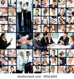 Collage of successful businesspeople at work