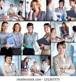 Collage of successful businesswomen at work