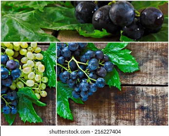 Collage of succulent green and black grapes