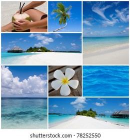 Collage of summer beach and summertime images. Maldives island.