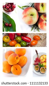 Collage of Summer fruits on white backgrounds