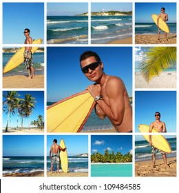 Collage with surfer with surf board on Atlantic ocean, Dominican Republic
