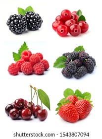 Collage of sweet berries mix close up on white backgounds.Strawberry, blackberry, mullberry,cherry, currants,raspberry
