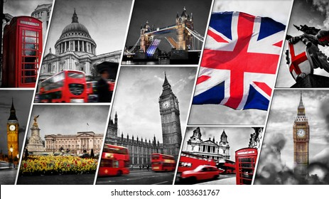 Collage of the symbols of London, the UK. Red buses, Big Ben, St Paul's Cathedral, St George dragon statue, Buckingham Palace, telephone booth, and the Union Jack flag. Traditional England in vintage